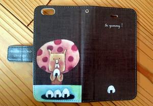 チョークアートのおにぎりライオン iPhone手帳型ケース iPhone6/6Sケース