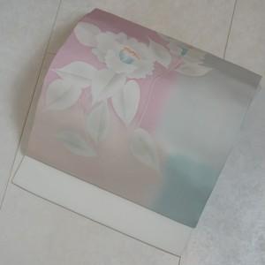 未使用 塩瀬 手描き友禅 椿 名古屋帯 白 ピンク 水色 239