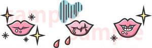 唇のひび割れ・剥け 線グレー イラスト素材