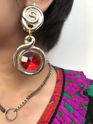 Vintage silver × red earrings ( ヴィンテージ  ピアス )