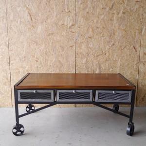 TOPANGA アイアン6引き出し付きテーブル