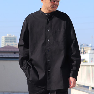 6oz Oxford Band Collar L/S Box-A Line Shirts Black