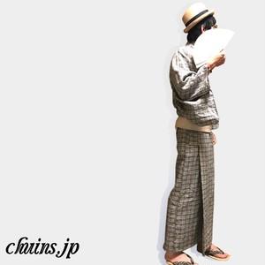 【着物&浴衣】メンズ リネンチョコチェック