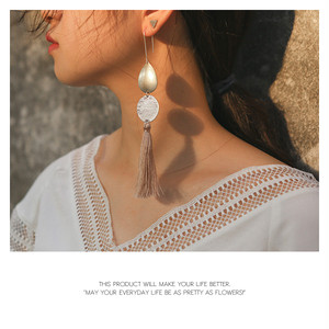 【pierced earring】4color Hook earrings with antique tassels[kgf0237]