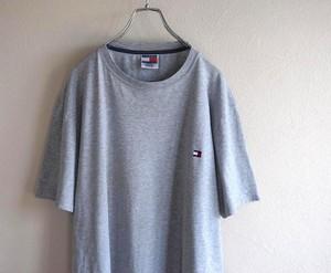 1990's [TOMMY HILFIGER] ワンポイント刺繍Tシャツ グレー 表記(L) トミーヒルフィガー