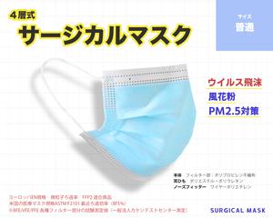 【50枚入り】4層式 サージカルマスク(普通サイズ 9.5cm×18cm)