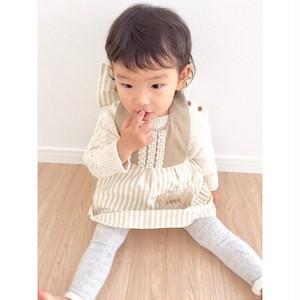 【名入れ】Baby*クマさんポケット付 ドレスエプロン(ストライプベージュ)
