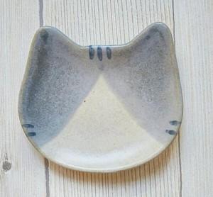 猫豆皿 グレーはちわれ