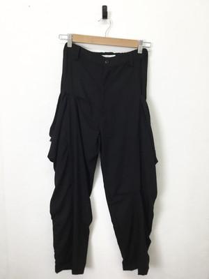 White テンセルデニム カイトポケットパンツ ブラック