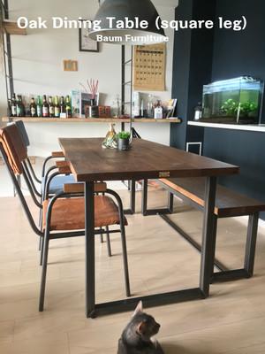 ダイニングテーブル 160cm ホワイトオーク アイアン [Oak Dining Table (square leg)]