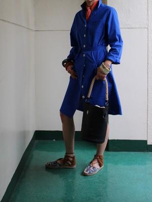 60s French work cotton coat belt