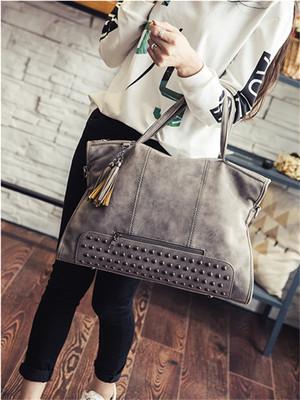 【accessories】New street rivet large handbag