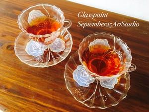 【ローズ】ティーカップ&ソーサ1つ(手描きガラス絵付け)/母の日ギフト・誕生日プレゼント・結婚祝い・退職祝い