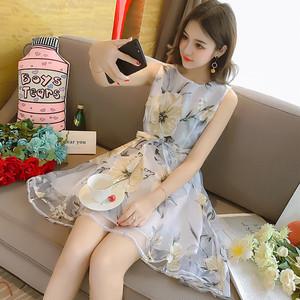 花柄 ノースリーブ ワンピース ドレス ミニワンピース 2色 RPSK051901