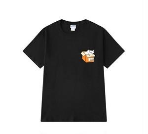 メンズ半袖Tシャツ。かわいい猫プリントブラック/ホワイト/グリーン3カラー