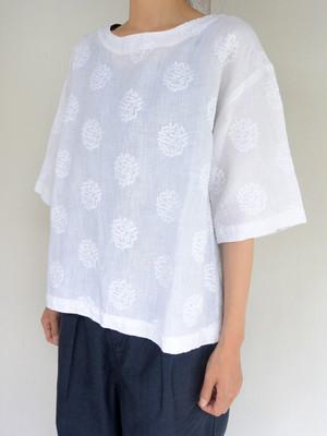 YARRAインド刺繍ブラウス WHITE