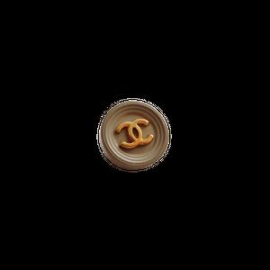 【VINTAGE CHANEL BUTTON】カーキ縁取り ゴールド ココマークボタン 16mm C-21007