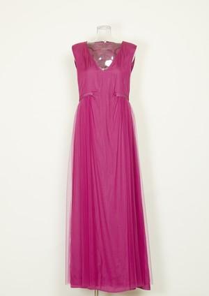 ロングチュールドレス pink