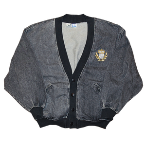 """Corni-Che"" Vintage Black Denim Cardigan Used"