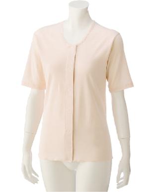 介護衣料3分袖ワンタッチシャツ(2枚組)(婦人)