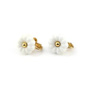 """flower glass_earrings """"snow white"""""""