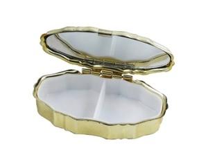 B級品 鏡付き携帯ピルケース 楕円 ゴールド 3個セット