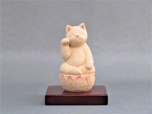 木彫り 右手で招き猫 猫仏2003