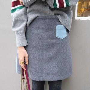 バイカラースカート(ブルー×グレー)