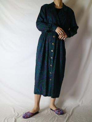 open collar paisley pattern dress 【0729】