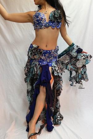 ベリーダンス衣装 ブルー 3種類生地 コサージュ