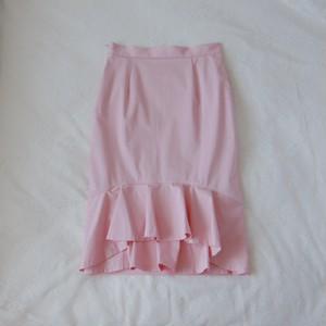バックペプラムタイトスカート・ピンク