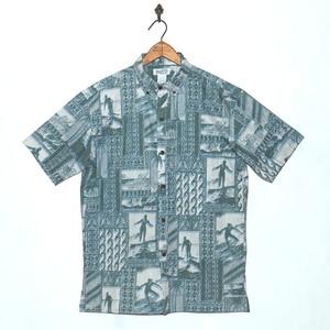 Mountain Men's ボタンダウン アロハシャツ / Surf / Green