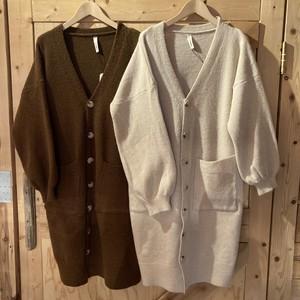 【BAD】tortoiseshell button long cardigan