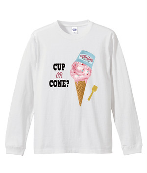 CUP OR CONE ロングTシャツ(ホワイト)