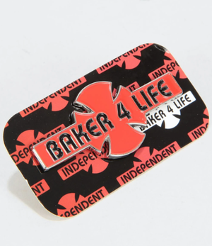 INDEPENDENDENT / Baker4 Life /  red/black  / ピンバッジ / pins / 31×75mm