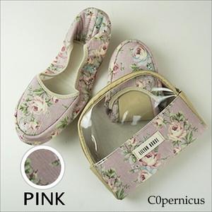 携帯スリッパ ポーチ付き 【Pink F】/折り畳みスリッパ/ルームシューズ 浜松雑貨屋 C0pernicus