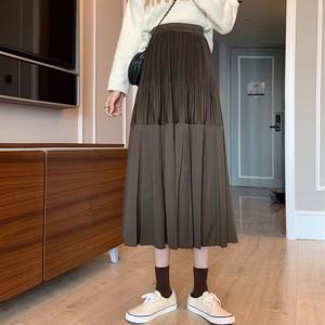 【ボトムス】レトロ無地ギャザー飾りロングスカート34854111