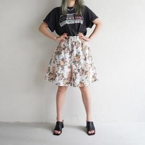 vintage floral cotton half pants - white × pink -