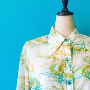 vintage-7*ヨーロッパ古着*公園柄レトロシャツ