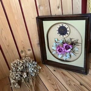 ≫ヴィンテージ*古いおしゃれな造花の額時計*QUARTZクオーツ*フラワーウォールクロック掛時計インテリア飾りビンテージレトロアンティーク