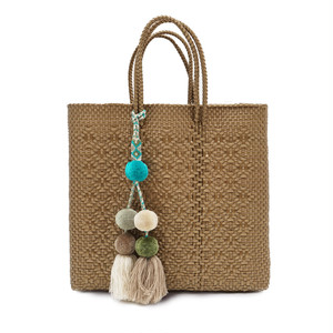 MERCADO BAG ROMBO with POMPON - GOLD(M) with GREEN MIX