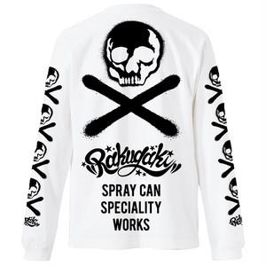 RAKUGAKI Stencil Skull Logo Long T-Shirts White