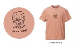"""アマビエ×@なおポップ=""""Ama pop""""Tシャツ(コーラルベージュ)"""