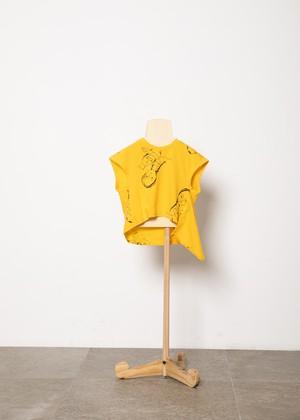 【21SS】folkmade(フォークメイド) face print scarf-T orange(S/M/L)Tシャツ