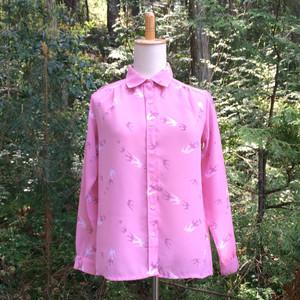 シャツ Pink & swallow