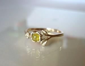 O様オーダーメイド  イェローナチュラルダイヤのバラの指輪