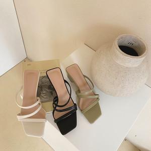 3color : Square Heel Strap Sandals  92070  サンダル ストラップ スクエアヒール