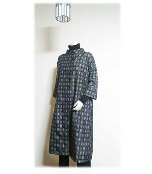 10*大島紬リメイクスレトロデザインプリングコート(黒×紫)