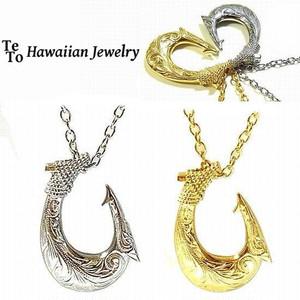 【HawaiianJewelry / ハワイアンジュエリー】 ペンダント フィッシュ ネックレス プルメリア スクロール ホヌ
