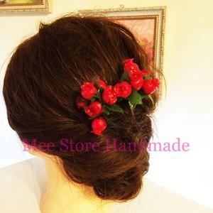 【一点物につき早い者勝ち】バラのつぼみの髪飾り ヘアピン かんざし